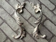 3.75 5 Pair of Cabinet Handles Dresser Pulls Drawer Pull Handles White Silver / Rustic Wardrobe Handle Vintage Furniture Hardware 96 128 mm   $16.40
