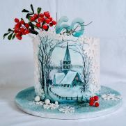 Winter nostalgia - cake by alenascakes Cow Cakes, Cupcake Cakes, Winter Torte, New Year's Cake, Holiday Cakes, Christmas Cakes, Glass Cakes, Painted Cakes, Novelty Cakes