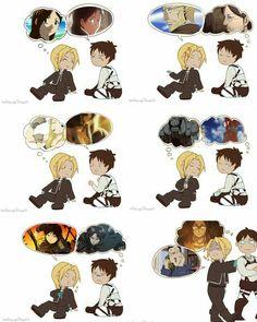 Edward Elric, Eren Jaeger, talking, side by side, funny; Fullmetal Alchemist, Attack on Titan/Shingeki no Kyojin