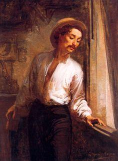 Ramón Martí i Alsina (Barcelona, 1826-1894). Pintor realista catalán. Autorretrato. Óleo sobre lienzo. Abadía de Montserrat.