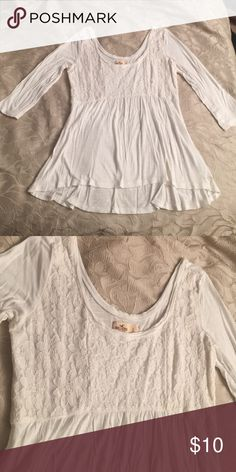 Hollister Lace Top Worn once. Very cute. Flowy look, not long like a tunic, more of a waist level top. 3/4 sleeves. Super soft material. No stains, perfect condition. Hollister Tops Tees - Long Sleeve