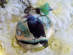 Black Crow Raven Locket Necklace by gristmilldesigns on Etsy, $17.95 #pcfteam