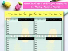 super ideas for fitness planner 2019 Meal Planner Template, Weekly Planner Printable, Weekly Meal Planner, Blog Planner, Macro Meal Planner, Calories In Sugar, Macro Meals, Pineapple Design, Macros