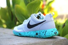 Custom Platinum Nike Roshe Run Mint Chip by DailyApparelCustoms