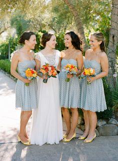Polka dot bridesmaid dresses {J. Crew}. Photography: Em The Gem - emthegem.com