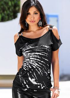 Black (BK) Cold Shoulder Top Give fashion the bold shoulder in this shimmering top. · Viscose/elastane · Imported · Style #J2121