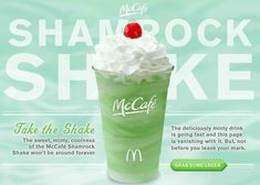 McDonald's Shamrock Shake Copycat Recipe (makes 1 giant shake, or 2 generously sized shakes) 3 cups go. Gluten Free Treats, Gluten Free Cakes, Mcdonalds Recipes, Run Eat Repeat, Mcdonald's Restaurant, Shamrock Shake, Dairy Free Diet, Smoothie Drinks, Smoothies