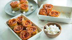 A stunning additional to the Thanksgiving table, this bundle of rose-shaped sweet potatoes will enliven the holidays. Sweet Potato Casserole, Sweet Potato Recipes, Thanksgiving Recipes, Thanksgiving Table, Food Stamps, Xmas Food, Pie Cake, Food To Make, Good Food