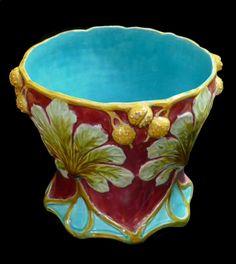 Majolica Cache Pot with Chestnut Decor