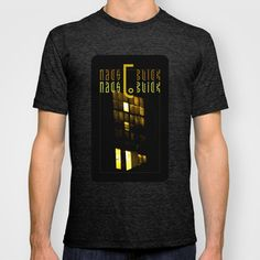 NachtBlick no.12 | NightView no.12  T-shirt by Pia Schneider [atelier COLOUR-VISION] - $22.00. #shirts #tshirts #clothes #men #women  #cotton #unisex #fashion #society6 #black #night #photography #typography #factory #industriell #window #lights