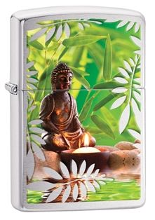 The Buddha rests among the leaves before a lit candle on this High Polish Chrome lighter. Comes packaged in an environmentally friendly gift box. For optimal performance, use with Zippo premium lighter fluid.