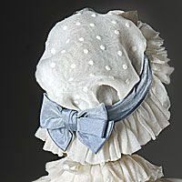 Abigail Adams' simple head covering--Swiss dot mob cap with blue bow