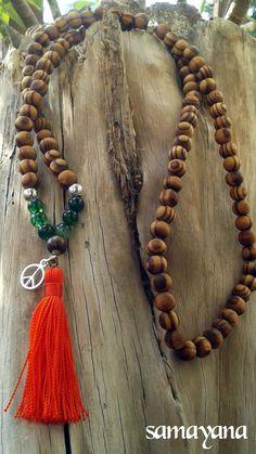 Tibetan Buddhist Japa Mala Rosary 56. Green Quartz by Samayana