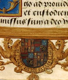 Lions flanking escutcheon with imperial arms, encircled by Collar of the Golden Fleece   Book of Hours   Belgium, Brussels   ca. 1540   The Morgan Library & Museum