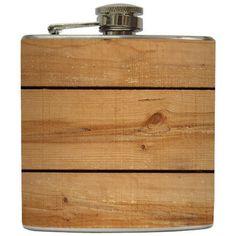 Liquid Courage Flasks: Rustic Wood Flask
