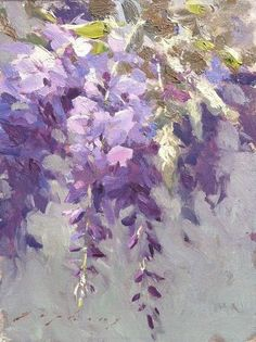 "American Legacy Fine Arts presents ""Wisteria from the Artist's Garden"" a painting by Jeremy Lipking. Art Floral, Watercolor Flowers, Watercolor Paintings, Painting Art, Watercolour, Art Moderne, Paintings I Love, Beautiful Paintings, Wisteria"