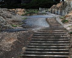 Stairs leading from the Sutra Baths ruins in San Francisco.
