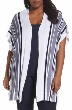 67667d4373 Foxcroft Kris Stripe Knit Open Cardigan (Plus Size)
