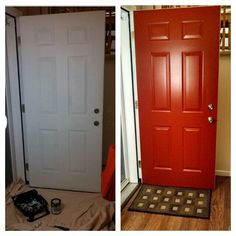 Before and after painting my front door red! Color: Antique Red by Behr. Premium Plus Ultra,  Exterior satin enamel, paint and primer in one. Took two coats to cover an already primed door. Fun!