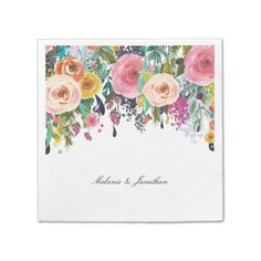 Romantic Pink Floral Garden Watercolor