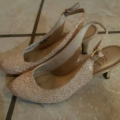 Great work shoes! Imitation Snake skin cream closed toe shoes with sling back. Never worn Life Stride Shoes Heels