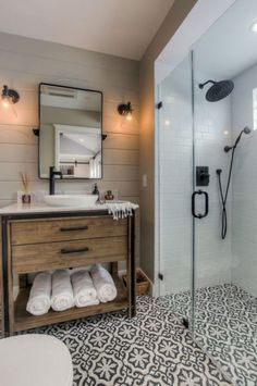 Get inspired by Modern Bathroom Design photo by Spazio LA Designs. Wayfair lets you find the designer products in the photo and get ideas from thousands of other Modern Bathroom Design photos. Bathroom Renos, Bathroom Interior, Vanity Bathroom, Wood Vanity, Bathroom Layout, Bathroom Cabinets, Design Bathroom, Shiplap Bathroom, Small Bathroom Showers