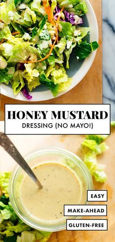 Salad Dressing This LIGHT but CREAMY honey-mustard salad dressing is made with Greek yogurt instead of mayonnaise. It's my favorite!This LIGHT but CREAMY honey-mustard salad dressing is made with Greek yogurt instead of mayonnaise. It's my favorite! Honey Mustard Salad Dressing, Honey Mustard Vinaigrette, Greek Yogurt Salad Dressing, Honey Mustard Sauce, Greek Salad, Salad Dressing Recipes, Salad Recipes, Salad Dressing Healthy, Creamy Salad Dressing