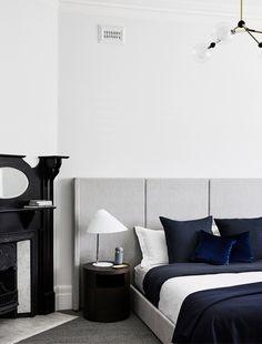 Bedroom Elsternwick Home by Mim Design est living Modern Home Interior Design, Modern House Design, Modern Interiors, Scandinavian Interior, Master Bedroom Design, Home Decor Bedroom, Dream Bedroom, Blue Bedroom, Bedroom Inspo