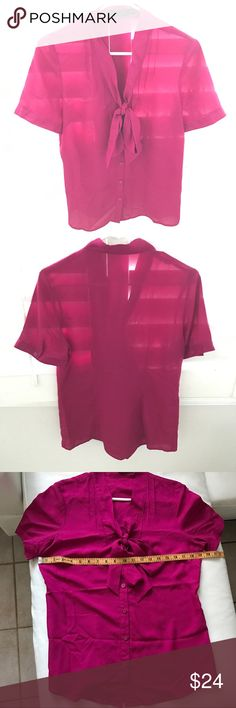"""THE LIMITED thin pink tie-front blouse medium Pit to pit 19"""" Sleeve 9"""" Shoulder 15"""" Length 27.5"""" The Limited Tops Blouses"""