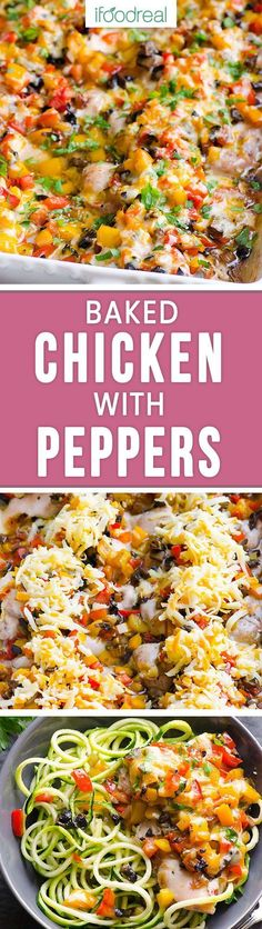 Baked chicken with peppers, onions and mushrooms is a 30 minute dinner  recipe using chicken thighs and a sprinkle of cheese for the juiciest  baked chicken ever!  Serve over veggie noodles or brown rice for a dinner that will WOW everyone!! (even the kid