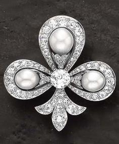 An Art Deco Diamond and Pearl Brooch