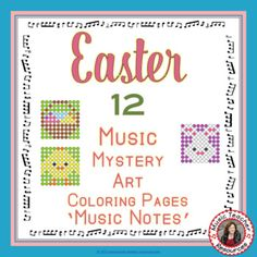 REINFORCE MUSIC THEORY NOTE NAMES with these EASTER MUSIC ACTIVITIES: Music Mystery Art: Color by Music Notes. Excellent for your EASTER Music Lessons This set contains 12 EASTER Mystery Music Coloring Worksheets. ♫ Coloring sheets are such a favorite with young musicians ♫ ♫ An excellent addition to your