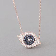 LOVE EVIL EYE  JEWELS Swarovski Designer Rose Gold Evil Eye Jewelry Necklace in Sterling Silver at Kellinsilver.com