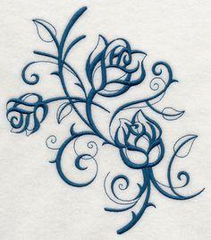 Inky Rose Trio - flower machine embroidery design -  beautiful