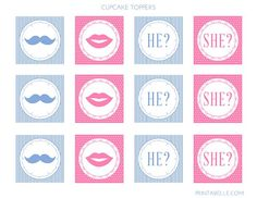 Gender reveal cupcake topper, free printable
