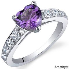 Oravo Sterling Silver Heart Gemstone and Cubic Zirconia Ring ($30) ❤ liked on Polyvore featuring jewelry, rings, purple, purple heart ring, heart shaped cubic zirconia rings, band rings, wide sterling silver rings and purple rings