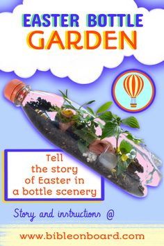 Read the story of Mary at the tomb and create this miniature Easter garden! Easter Garden, Bottle Garden, Bible Crafts, Garden Crafts, Miniature, Mary, Create, Garden In A Bottle, Miniatures