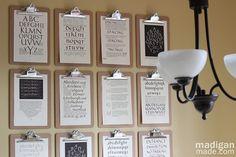 clipboard wall!!! for art, projects, seasonal decor. Perfect to display kiddos' art!