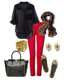 blusa negra, pantalon rojo, bolsa egra, bufanda leopardo, flats leopardo, aretes y brazalete dorados - #outfit para viernes