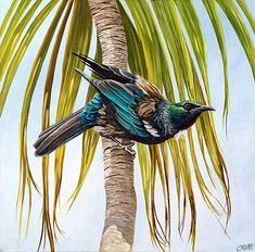 Tui on cabbage tree - Craig Platt NZ native bird artist Color Pencil Sketch, Bird Sketch, Nz Art, Art For Art Sake, Wildlife Paintings, Wildlife Art, Art Maori, Bird Artists, New Zealand Art