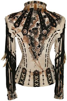 Leather with studs, feathers