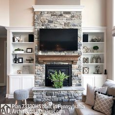 Classic Farmhouse Stone Fireplace Want to add a fireplace to the interior design of your home? Here are some unbelievably charming stone fireplace ideas for your inspiration. Stone Fireplace Decor, Fireplace Built Ins, Farmhouse Fireplace, Home Fireplace, Fireplace Remodel, Living Room With Fireplace, Living Room Grey, Fireplace Design, Home Living Room