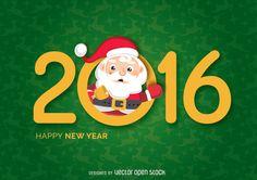 Año Nuevo 2016 de Santa diciendo hola