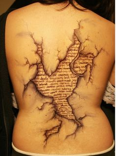 this is SO cool and something along the lines of what i had in mind for my next tattoo, only mine would be a skeleton ripping through my skin and poking her head out to see the outside world.....