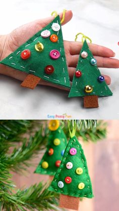Felt Christmas Tree Ornament DIY ornaments you say? Well, today we are sharing this felt Christmas tree ornament tutorial that is perfect for kids to make, especially if they want to learn sewing. Christmas Decorations Diy For Kids, Diy Felt Christmas Tree, Christmas Crafts For Kids To Make, Xmas Crafts, Diy Ornaments For Kids, Christmas Activities, Christmas Treats, Christmas Traditions, Christmas Christmas