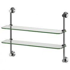 Get Elegance Feels With Bathroom Glass Shelves : Stylish Two Tier Mount On Wall Bathroom Glass Shelves Design With Iron Bracket Ideas