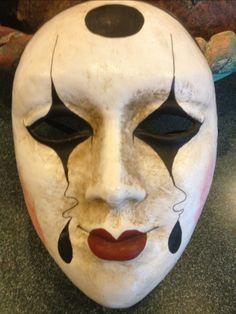 Venetian Mask Handmade in Italy Creepy Masks, Cool Masks, Drama Masks, Paper Mache Mask, Venice Mask, Mask Drawing, Mask Painting, Large Paper Flowers, Carnival Masks