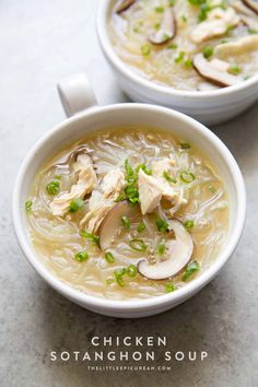 Chicken Sotanghon Soup - The Little Epicurean - Filipino chicken noodle soup featuring mung bean thread noodles - Filipino Soup Recipes, Healthy Soup Recipes, Chili Recipes, Asian Recipes, Cooking Recipes, Ethnic Recipes, Filipino Food, Filipino Dishes, Asian Desserts