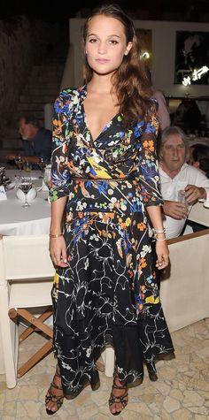 Alicia Vikander was radiant at the Ischia Global Film and Music Fest in a floral gown.