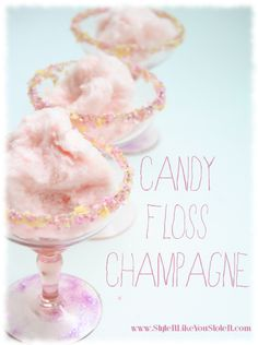 New Year's Eve candy floss champagne. Candy Floss champagne with popping candy rim cocktail recipe tutorial